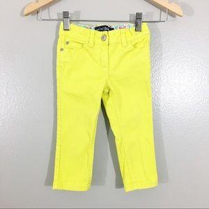 Mini Boden 2Y Neon Skinny Jeans Yellow Girls